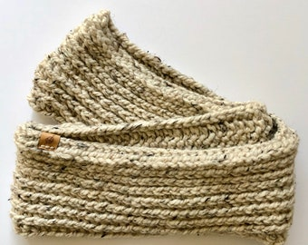 crochet triple luxe infinity scarf, oatmeal, ready to ship