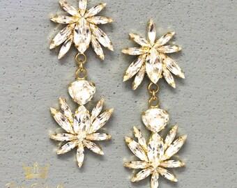 Bridal Earrings,Clear Crystal Chandelier Earrings,Swarovski Crystal Bridal Earrings,Bridal Statement Long Earrings,Bridal Long Earrings