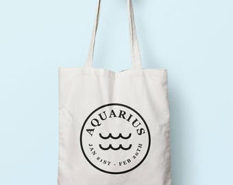 Aquarius Zodiac Sign Stamp Tote Bag Long Handles TB1903