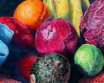 "TRIVET, functional beautiful glass kitchen art. Market Basket 5 - Ripe, lovely fruits and veggies. -  8""x 11"".  Free U.S. shipping."