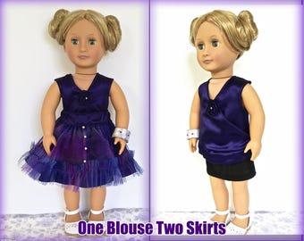 18 inch doll clothes. Purple satin doll blouse and two very different doll skirts. One satin and tulle, one pleather. Doll Bracelet.