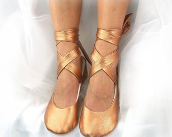 Faux Leather Ballet Flats Bronze Rose Gold Wedding Ballet Shoes