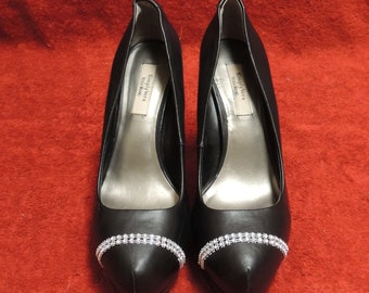 Up cycled Simply Vera Wang Woman's Black Size 6 High Heels, Pumps, Stiletto's, Shoes with Rhinestones.