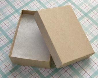 10 Kraft Cotton Filled Jewelry Boxes High Quality 3 1/8 x 2 1/4 x 1 inch - Medium