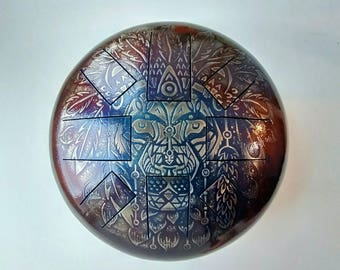 "Hand made Steel Tongue Drum ""Lion""  Ø30cm (11"") tongue drum handpan tank drum"