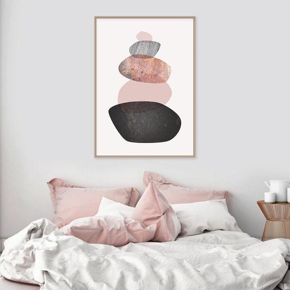 Printable Balancing Stones Wall Art Downloadable Minimalist Print  Scandinavian Poster Blush Pink Grey Rosegold Black Scandi Digital Download