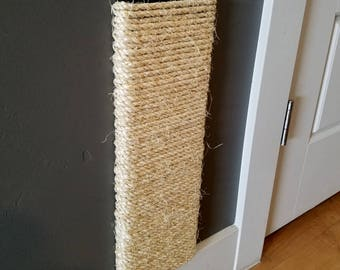 Wall Mounted Cat Scratching Post 18-24 inches tall, Stained Pine, Sisal Rope
