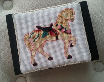 Embellished wooden box with horse cross stitch
