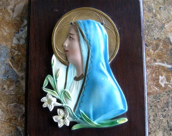 Vintage Madonna Plaque Metal on Wood Raised Relief Embossed Religious Christian Mother Mary Blue Green