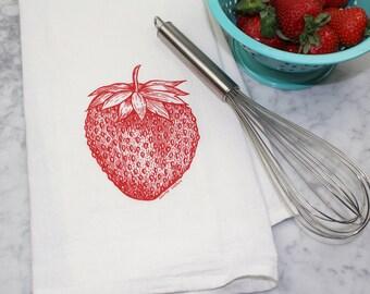 Strawbery Flour Sack Towel - Tea Towel - Kitchen Towel - Hand Printed Dish Cloth - Hostess Gift - Fruit Kitchen Towel - Houswarming