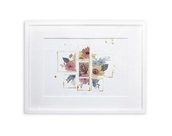 """ORIGINAL watercolor and ink illustration """"vintage-frames"""""""