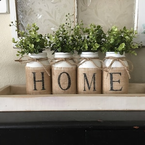 Country Home Decor, Mason Jars With Burlap, Painted Mason Jars, Mason Jars  With