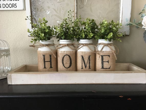 Country home decor mason jars with burlap painted mason - Decorative things for living room ...