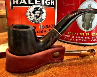 The Czech Mate (Check Mate) - Portable Pocket Size Pipe Rest and Pipe Tools in Smooth Light Brown Leather