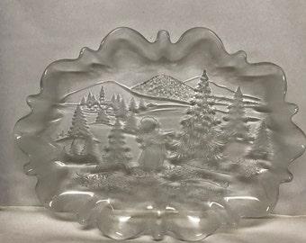 Mikasa Oval Christmas Story Ruffled Crystal Platter