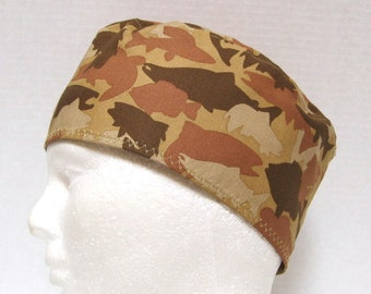 Mens Scrub Hat, Surgical Cap, Chemo Hat or Skull Cap Fish Camouflage