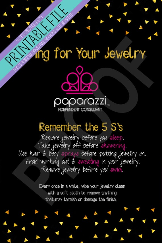 Printable: Paparazzi Jewelry Care Cards Consultants