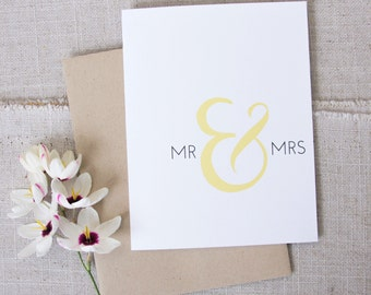Mr & Mrs Wedding Congratulations Card / Modern Wedding Congrats Card / For the Bride and Groom / Minimalist Wedding / Elegant Paper Goods