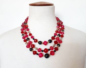 1970's vintage necklace 70's beaded necklace red necklace goldtone necklace ladies 70's necklace