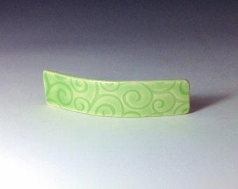 Large Green Barrette, Porcelain Barrette, Ceramic Barrette, French Barrette, Lime Green Ceramic Hair Clip, Swirl Pattern Hair Barrette