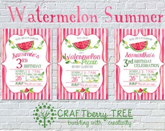 Watermelon Picnic/Birthday Personalized Birthday Invitation