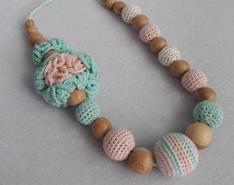 Nursing necklace blue pink, teether necklace for mom, Teething Necklace Wood, nursing necklace crochet, Organic Wood Teether, Wood  Necklace