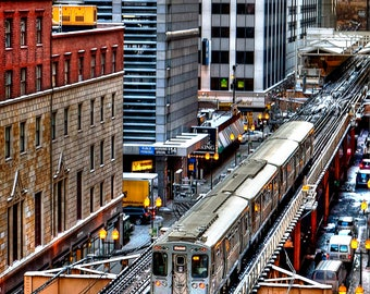 1436 The EL, Chicago Photography, Cityscape, Street Photography, Elevated Train, Transportation, Fine Art Print
