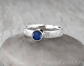 Sapphire Ring - Sterling Silver - Handcrafted Blue Sapphire Ring - September Birthstone Ring
