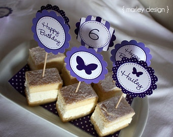 Butterfly Toppers Printable Butterfly Party Butterfly Birthday Purple Butterfly Party Girls Birthday Personalized Customized Digital Favors