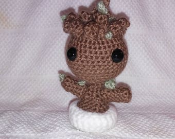 Crochet Baby Groot Inspired from Guardians of the Galaxy Movie Potted Plant Whimsical Present Inexpensive Birthday Gift with Free Shipping