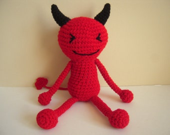 Crocheted Stuffed Amigurumi Devil