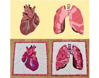Anatomical Heart and Lungs paper piecing pattern bundle - foundation sewing pattern download - gift for nurse - make your own quilt block
