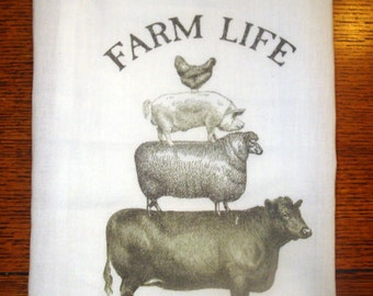 Flour Sack Kitchen Towel Farm Animals