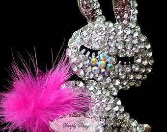 1pc RD222 Rhinestone Crystal Bunny with fur Flatback Metal Brooch Embellishment Jewelry Iphone Case DIY supplies