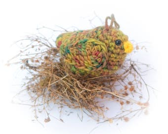 Gold  Bird Amigurumi Multi Colored