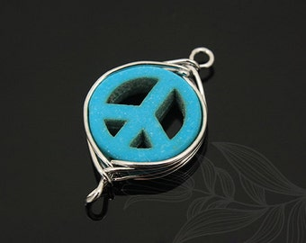 G545-20pcs-Rhodium Plated-turquoise peace
