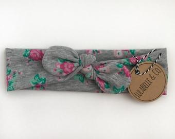 Rose Garden Gray Floral Baby Knot Headband // Infant Headband // Newborn Headband // Knotted Headband // Baby Turban //