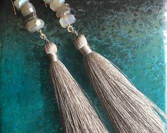 Sahara Earrings - Sand Silk Tassels Handmade Moonstone Nugget Gray Natural Irradescent Earrings