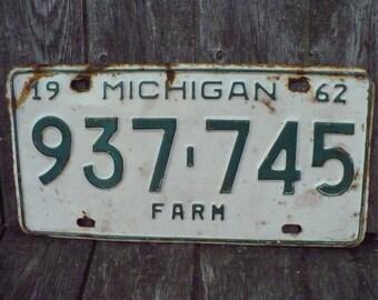 Michigan Farm License Plate 1962