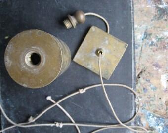 A vintage French plumb bob, plumb line, architect's plumb bob, brass, cylindrical plumb bob, conical plumb bob
