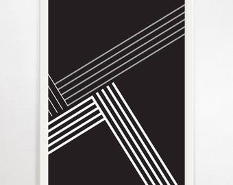 Geometric Art, Monochrome Art Print, Geometric Wall Art, Black and White Print, Minimalist Art, Monochrome Wall Art, Large Modern Art,