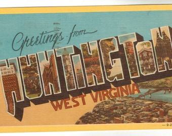 Linen Postcard, Greetings from Huntington, West Virginia, Large Letter, 1947