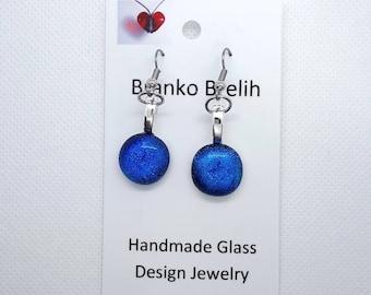 Blue Dichroic Art Glass Dangle Earrings