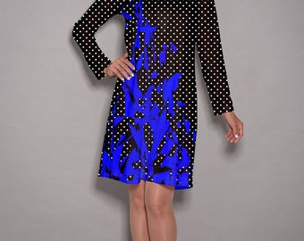 Blue dress, White polka dot dress, dress for women, winter dress, long sleeve dress, midi dress, casual dress, v neck dress, casual dress