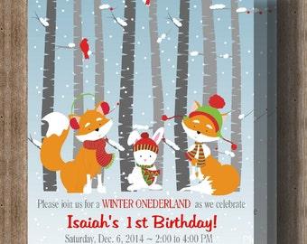WINTER FIRST BIRTHDAY Invitation/Winter Onederland Winter Woodland Snowflake Invitation/Printable File/Boys 1st Birthday/Girls 1st Birthday