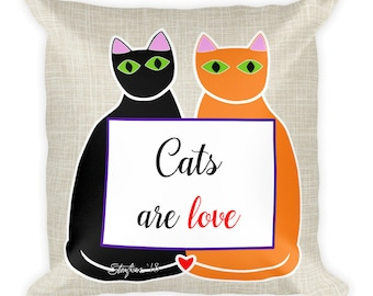 Cats are love Square Pillow