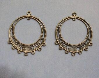 2 BRONZE CHANDELIER connectors for jewelry making