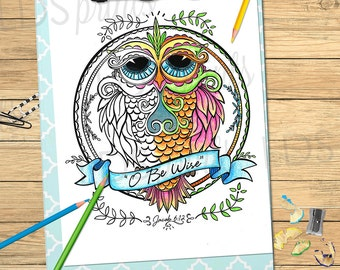 LDS Adult Coloring Pages O Be Wise Owl Jacob 612 Printable Program Cover