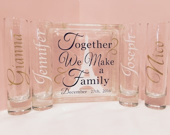 Family Blended Unity Sand Ceremony Glass Containers - Glass Block - Together We Make a Family - with Wedding Date - personalized Side Vases