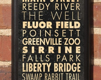 Greenville, SC Points of Interest & Destinations Wall Art Sign Plaque Gift Present Home Decor Vintage Style Heritage flour Shoeless Classic